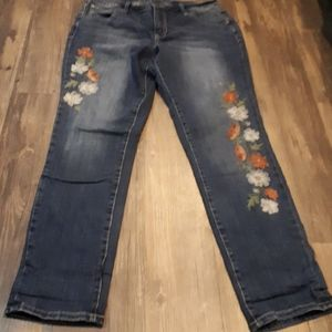 JAG Jeans Embroidered Mid Rise Skinny Size 14